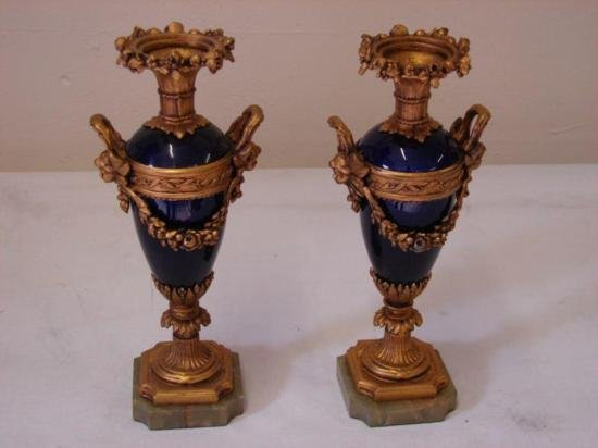 Pair of Gilt metal sevres style vases (ET1815)