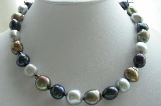 Gorgeous 12 mm Multicolor Natural Pearl Necklace
