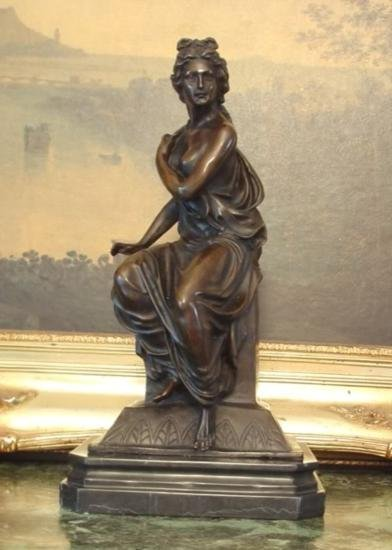 Regal Bronze Sculpture Greek Goddess