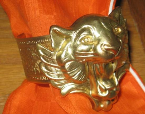 Vintage Art Nouveau Brass Womens Cuff / Bangle Panther