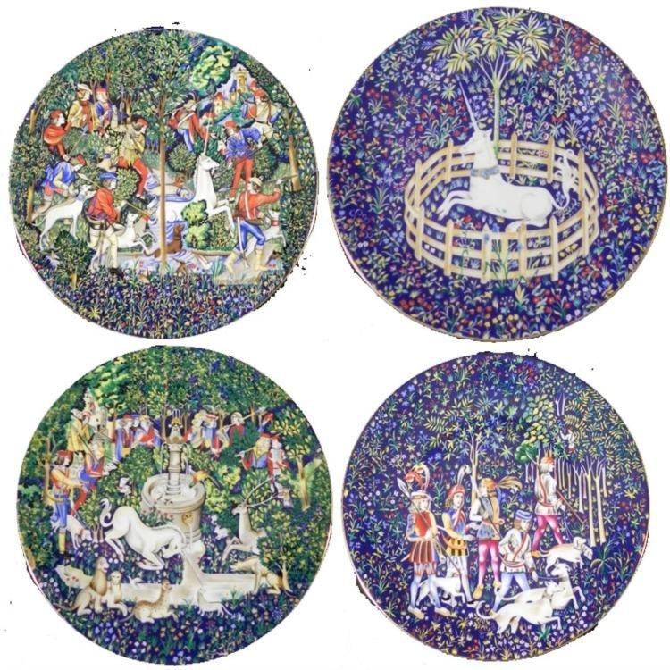 4 La Chasse a la Licorne Haviland Collector Plates 1974
