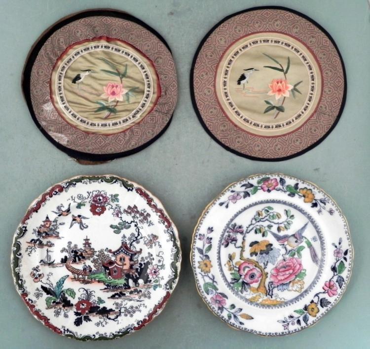 2 Ashworth Hanley China Plates w/Chinese Motif & Covers