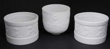 3 Pc Rosenthal Wiinblad Porcelain Bowls w/Girl Pattern
