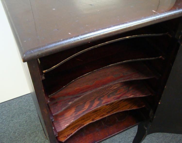 Antique Wood 6 Shelf Record Sheet Music Storage Cabinet - 3