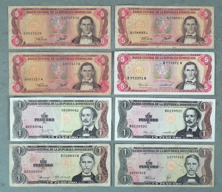 7 Mixed Dominican Republic Bills 1 & 5 Peso 1974-87