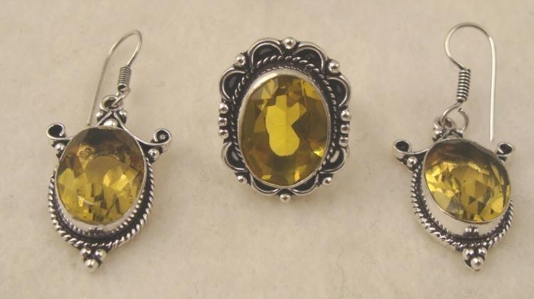 Yellow Gemstone Citrine 2 Pc Sterling Ring Earrings Set