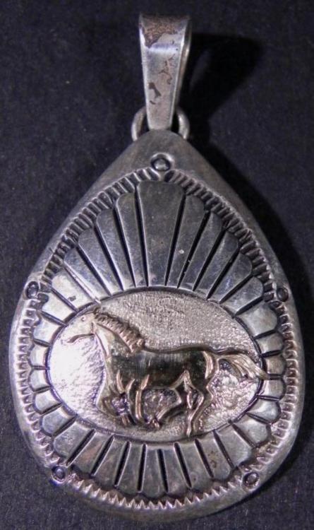 Sterling Silver & 14K Gold Horse Pendant
