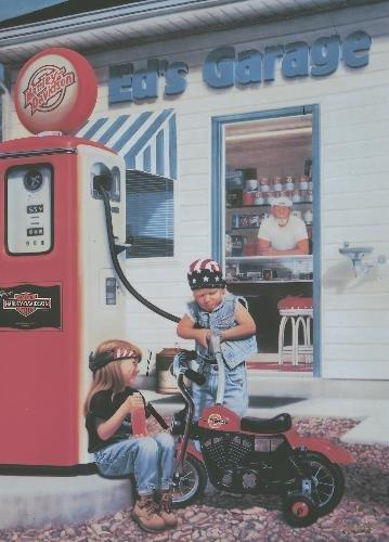 Holly Ellsworth FILL 'ER UP Harley Motorcycle Art Print