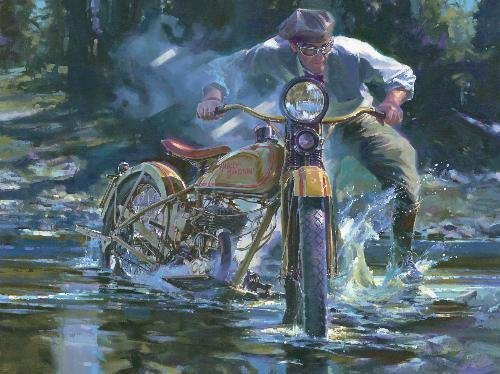 Tom Fritz PATH LESS TRAVELED LE Motorcycle Art Print