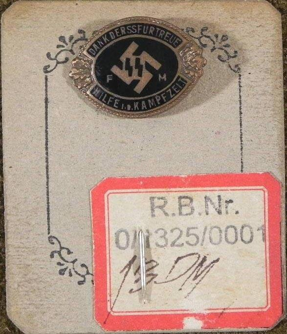 RARE SS AUXILIARY MEMBER BADGE #D ON PURCHASE CARD ORIG