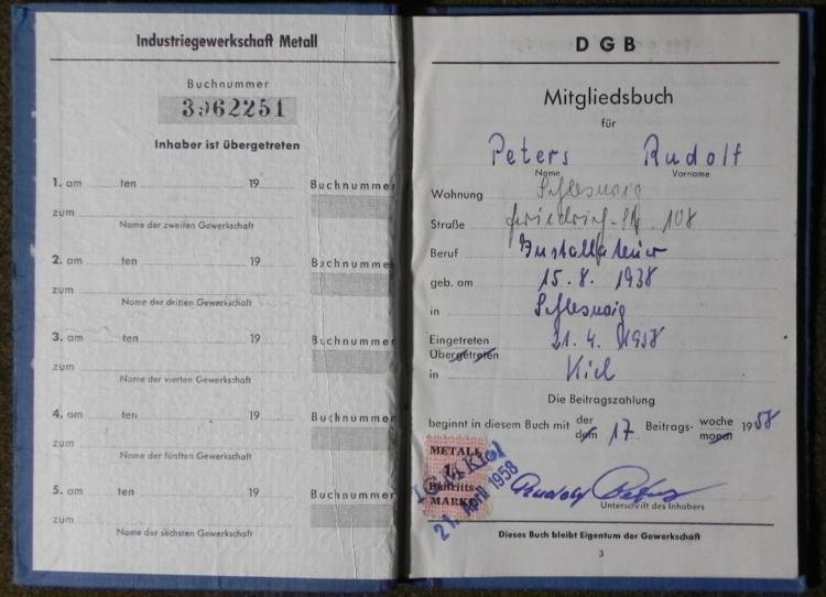 EX-NAZI RUDOLF PETERS 1958 WORK PASS WEST GERMANY
