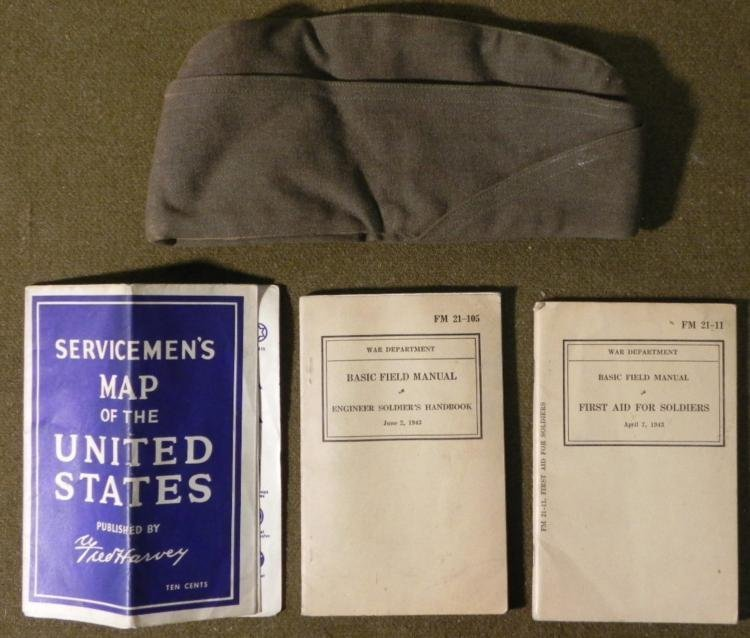 WWII US GI TWO MANUALS- SERVICEMANS MAP OVERSEAS CAP