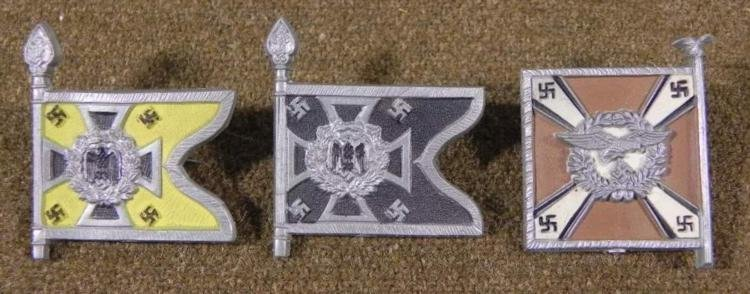 SET OF 3 NAZI STANDART FLAG PINS-ALL ID'D & MAKER MARKD