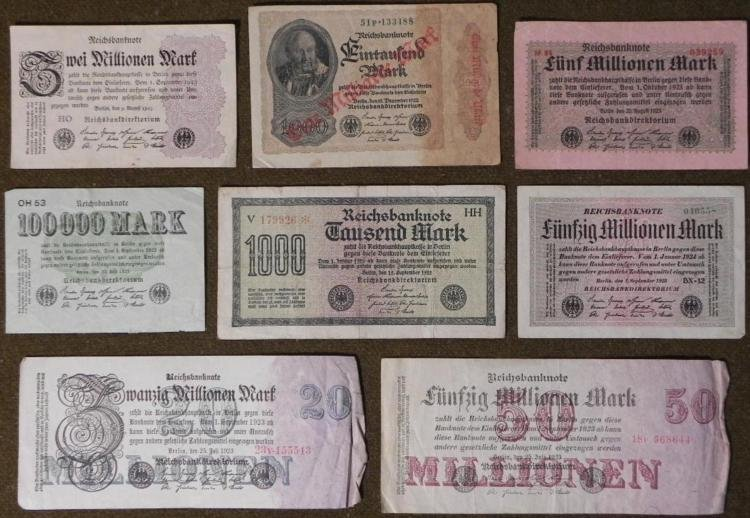 8 PCS OF OLD IMPERIAL,INFLATION GERMAN CURRENCY-1920S