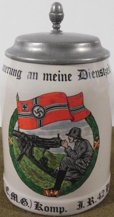 NAZI MACHINE GUNNER BEER STEIN CROCKERY-PEWTER COVER