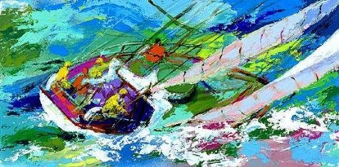 Yawl Sailing Signed Limited LeRoy Neiman Art Print 2001