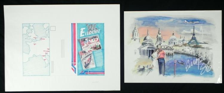 Original 1986 European Traveling Drawing & Water Color
