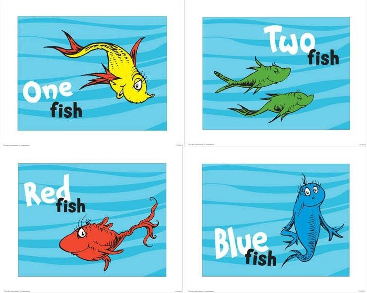 4 dr seuss prints 1 fish 2 fish red fish blue fish for One fish two fish red fish blue fish coloring page