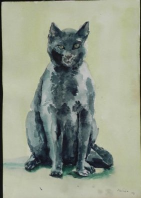 Betty Snyder Rees Original 2 Sided Painting Cat, Figure