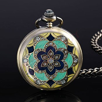 Bronze Style Floral Cased Pocket Watch with White