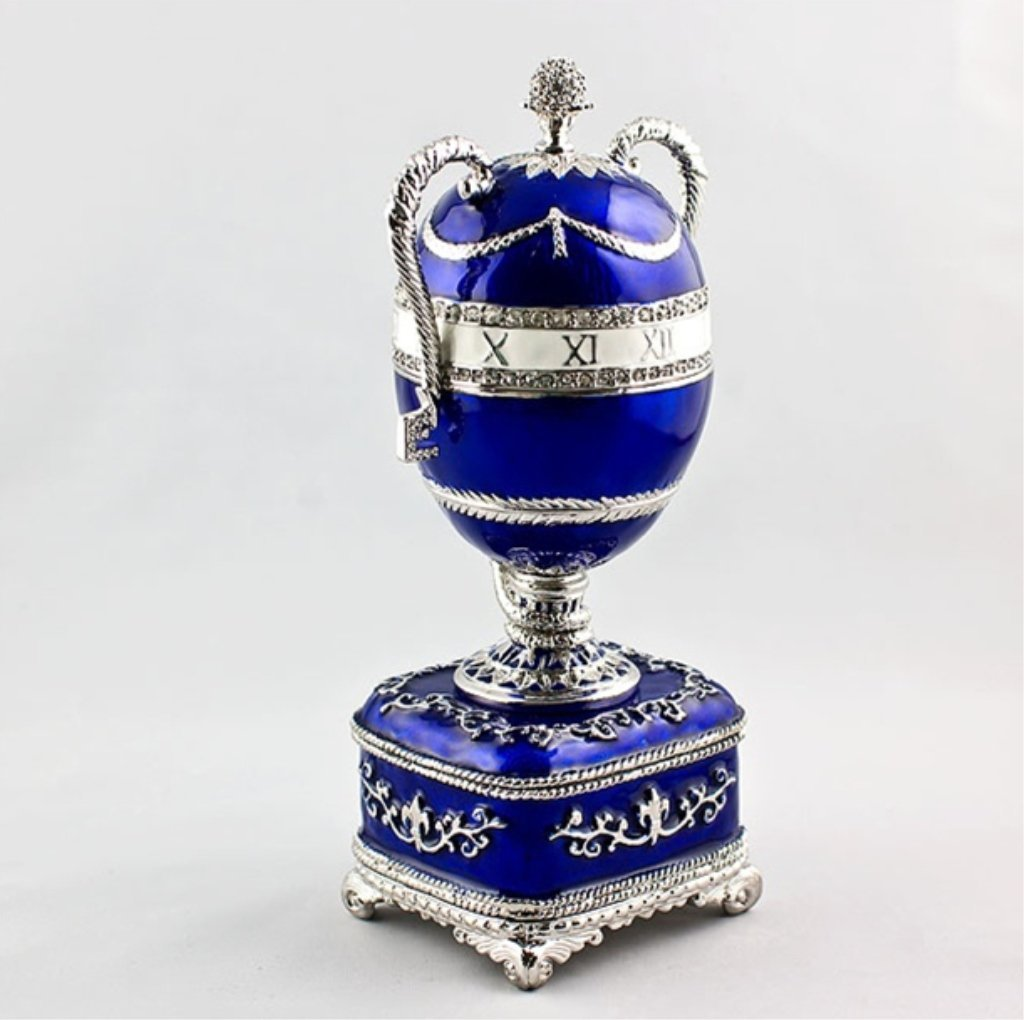Blue Serpent Clock Faberge Inspired Egg