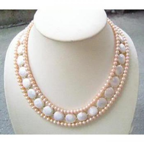 Pink and White Coin Pearl Necklace
