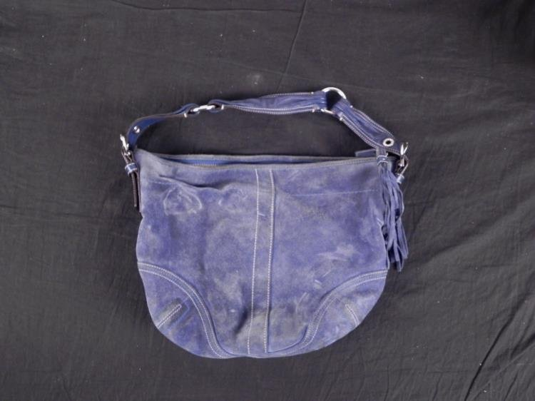 Coach Light Blue Suede Purse Hand Bag