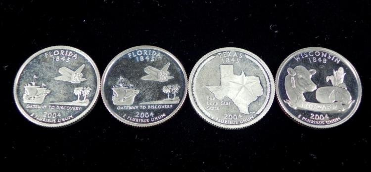 4 2004-S Proof State Quarters- Florida Wisconsin Texas