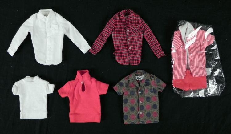 6 Vintage Original Ken Doll Outfits Shirts 1962-