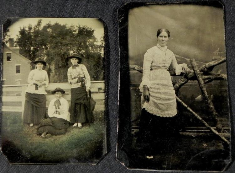 2 Antique Tintype Photographs Women, Outdoors