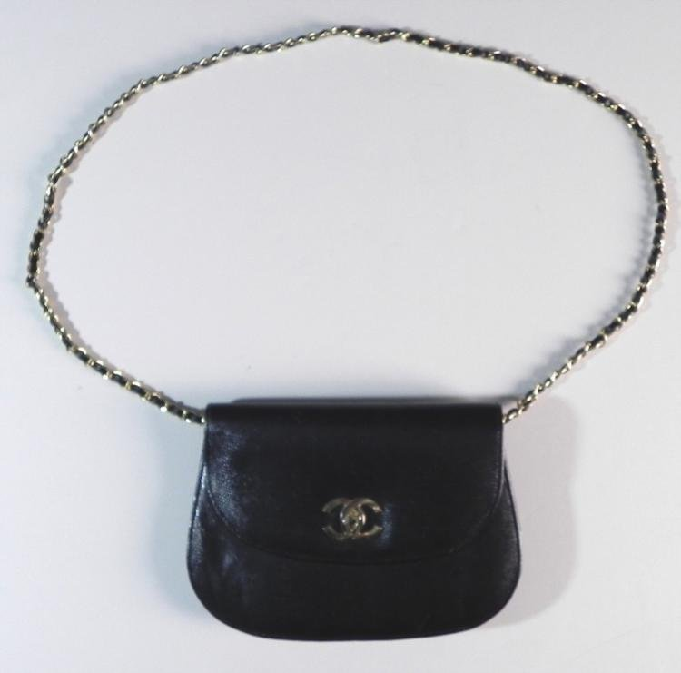 Authentic Chanel Black Leather Purse Hand Bag -France