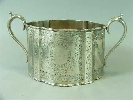 18th Century Sterling Sugar Bowl. Heavily hand eng