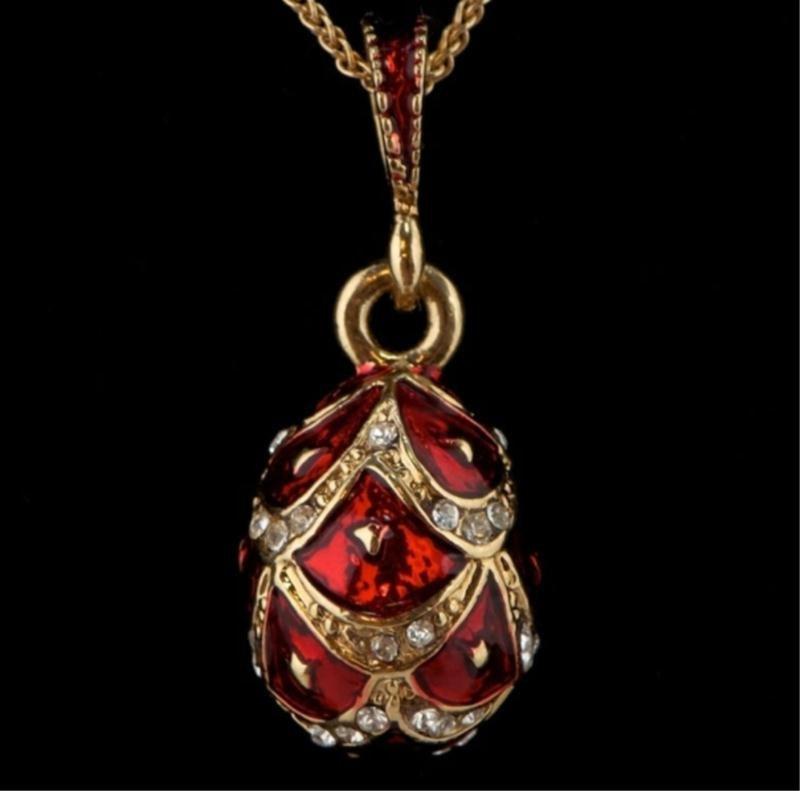 Red Enameled Faberge Egg Pendant