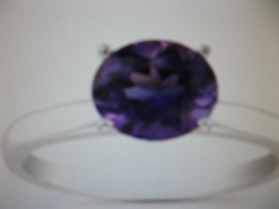 Genuine Amethyst 2.0 ctw. Solitaire 14 ct. Ring.
