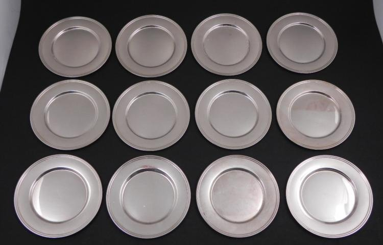 Set of 12 Alvin Sterling Silver 6 Inch Plates E49