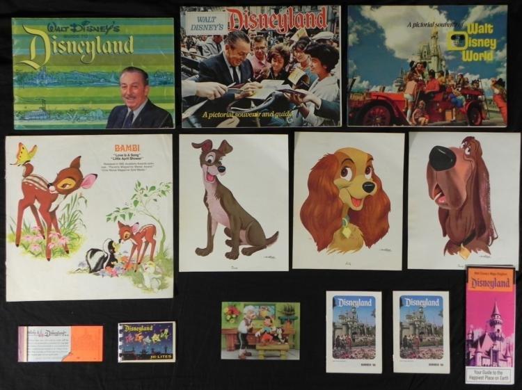 13 Disneyland & Disney World Vintage Books, Guides,Card