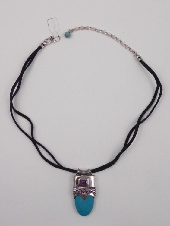 Sterling Silver Turquoise Gemstone Pendant on Necklace