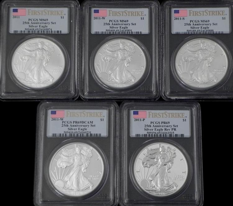 Set 5 25th Aniversary Silver Eagle Liberty MS69 DCAM PR