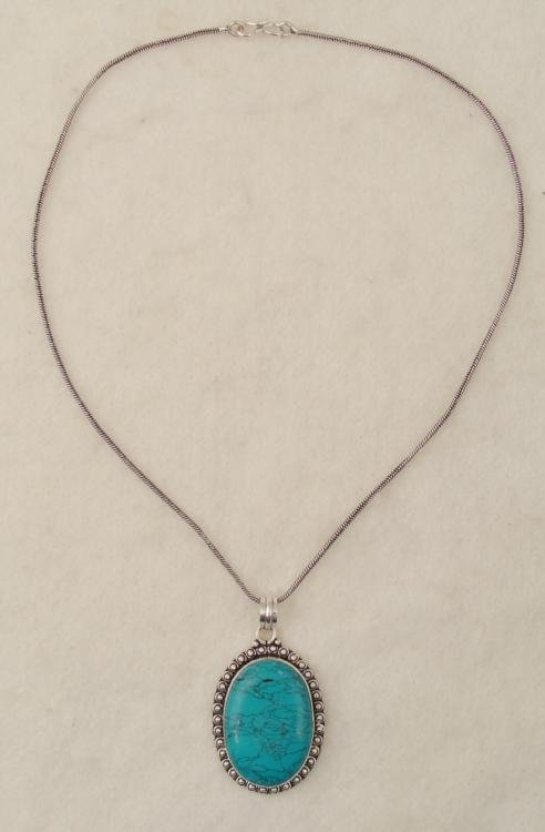 Turquoise Sterling Oval Pendant Necklace