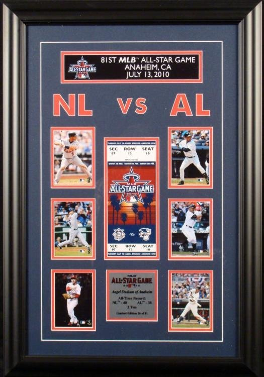 2010 81st All-Star Game Framed Ticket and Cards