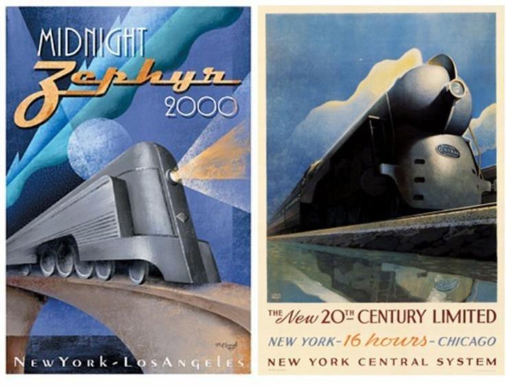 2 Train Posters Midnight Zephyr 20th Cent Kungl Ragan