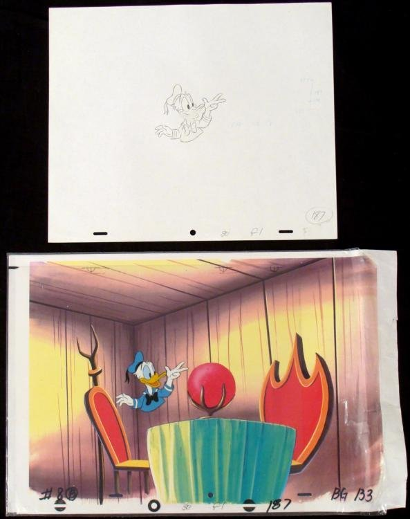 Donald Duck Animation Cel Original Drawing Background