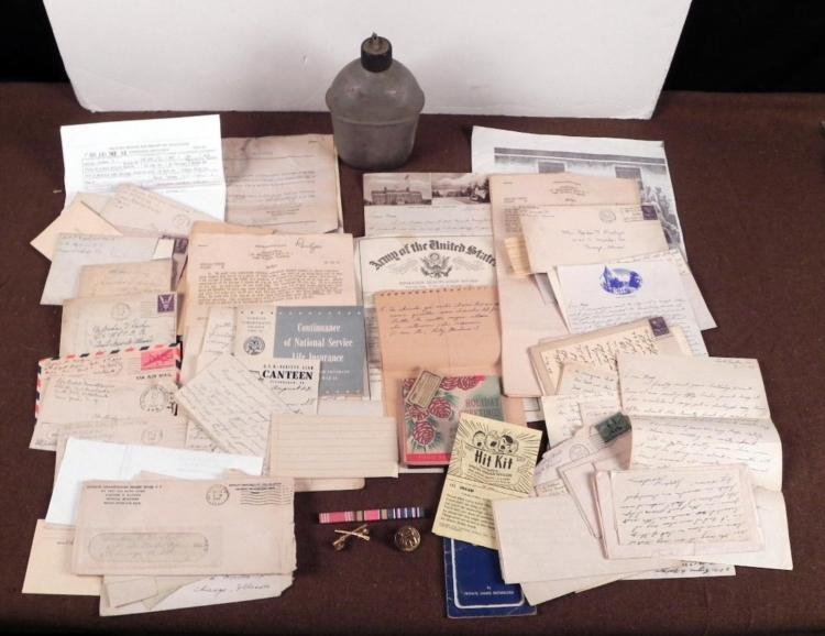 WWII GI'S LOT INSIGNIA, LETTERS, SONGBOOK,CANTEEN DOCS+