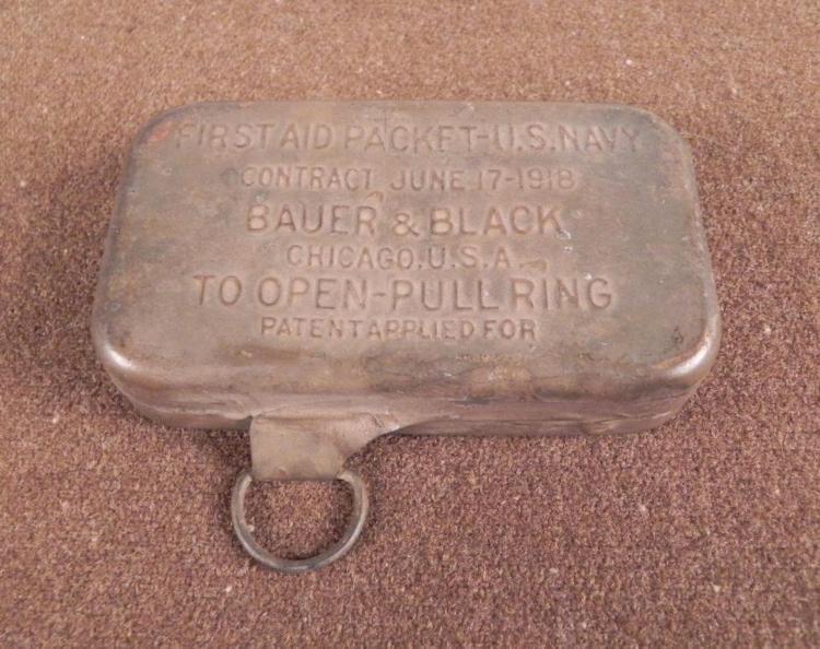 WWI U.S. NAVY FIRST AID METAL KIT UN-OPENED ORIGINAL