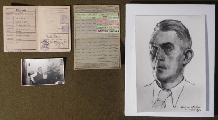 4) NAZI ITEMS ROBERT PETERS THE DAF 1944 SKETCH PHOTO