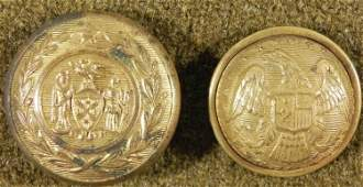 2 New York State Antique Tunic Buttons Excelsior Gilt