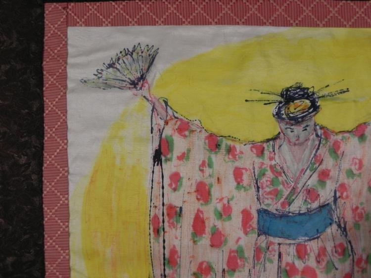Betty Snyder Rees Orig Fabric Painting Chinese Women - 2