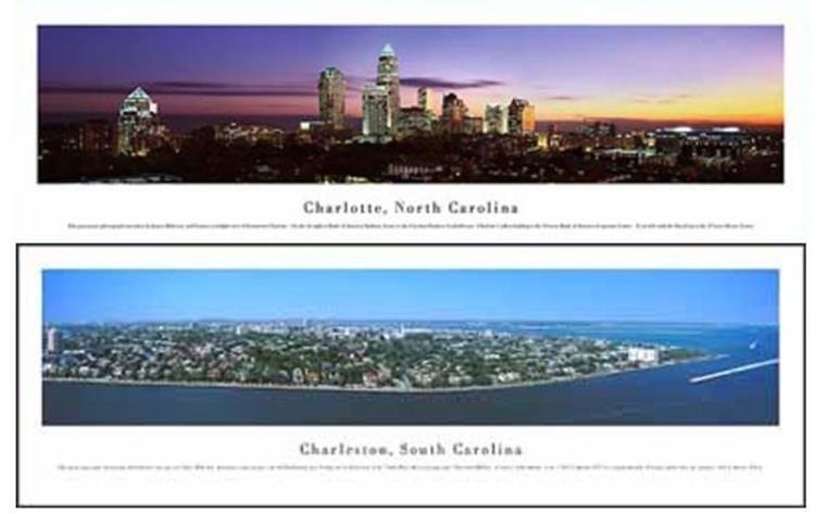 2 James Blakeway Panorama Photo Prints N., S. Carolinas