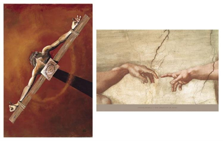 2 Christ Art Prints Kent L Drake Michelangelo Gods Hand