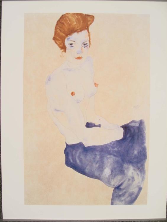 Ego Shiele Sitzender blauer Akt Nude Art Print